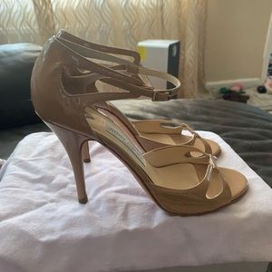 JIMMY CHOO HEELS SHOES SZ 38 1/2 gloss foundation